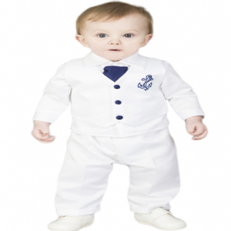 Boys White/Navy Blue Anchor 5pce Satin Christening Suit